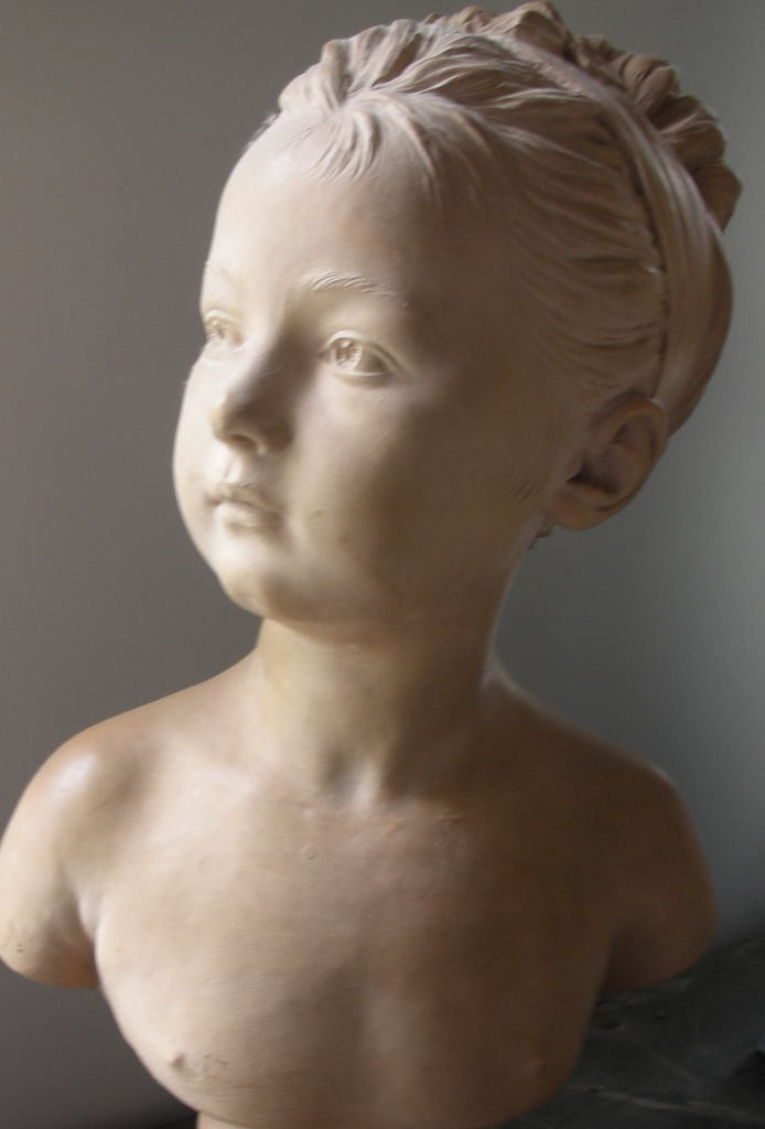 French Houdon terracotta bust of young girl