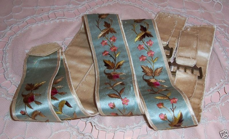 suspenders early 1800's robins egg blue embroidered