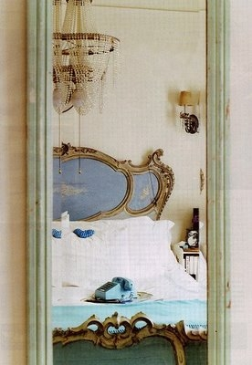 Blue antique bed