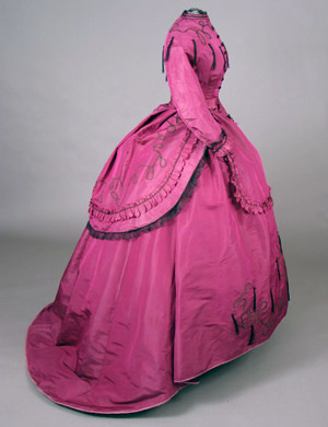 Dress Magenta slk day dress c 1869 Nellie Grant AA