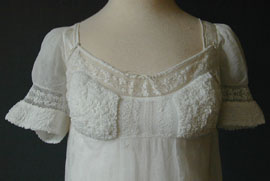 Dress trained gown 1803 white muslin bucks lace MA
