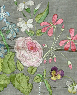 Embroidered vase of flowers early 19th Meg Andrews