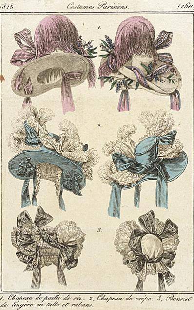 Fashion plates French hats 1828