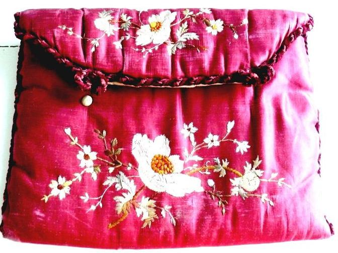 Red silk embroidered hankerchief pouch 1860