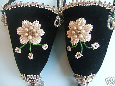 velvet beadwork hanging holders victorian closeup