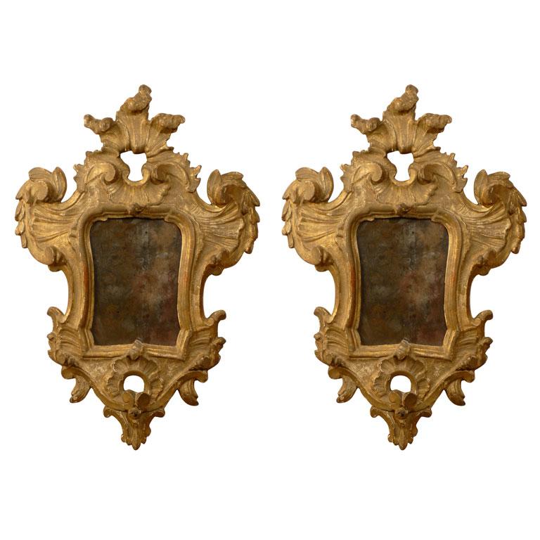 Pair Gilt-Wood Rococo Girandoles, Italy c. 1770 1stdibs