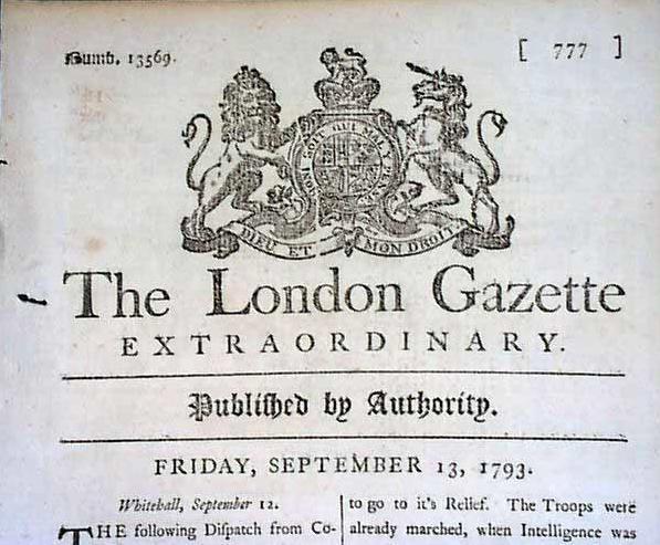 Antique Newspaper UK 1793