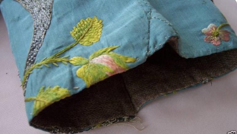 Antique sleeve silk taffeta crewel metallic embroidery