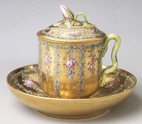 Covered cup and saucer made for Empress Elizabeth Petrovna, ca. 1760 MET