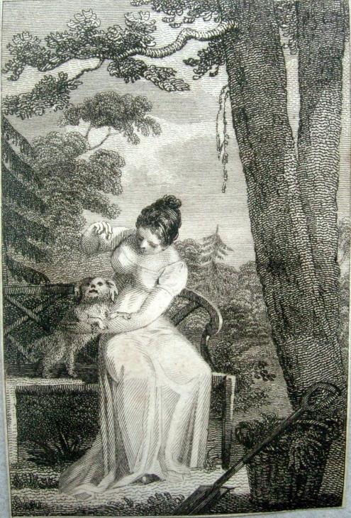 Lady with her dog engraving 1808 3.5x2.5 inches