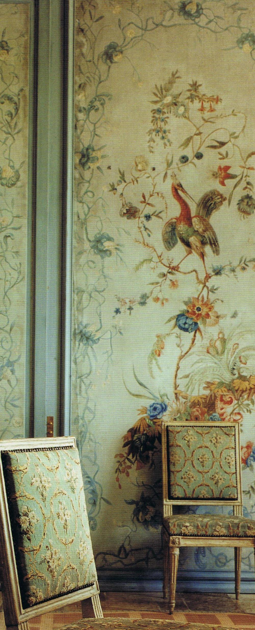 Louis XV canvas panels from Monluc, Paris Louis XVI Chairs