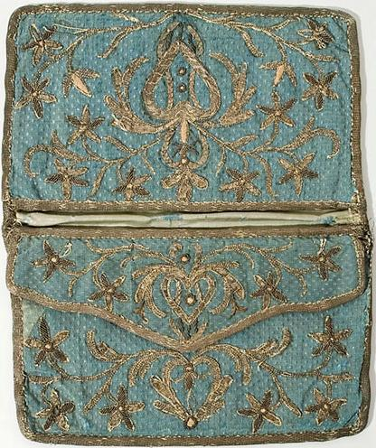 Metallic embroidered silk pocketbook, mid 18th century VT