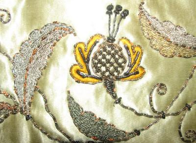 Ruins antique silk embroidered alter runner fragment