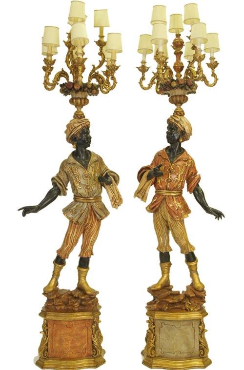 1stdibs Pair of life size lighted Venetian blackamoors