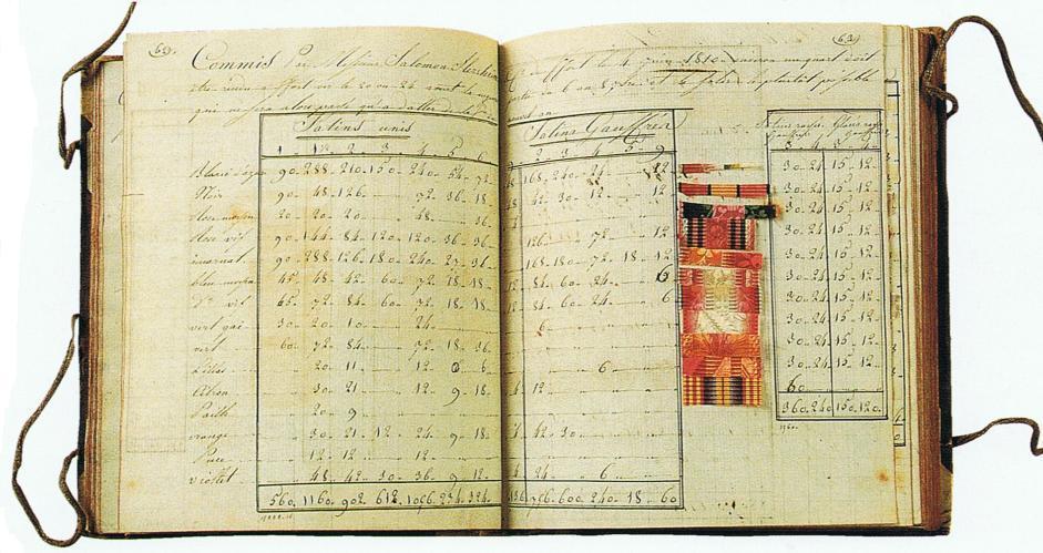 Silk sample book of silks woven at Saint-Etienne 1770-1810 Musee d'Art et d'Industrie Trouvais