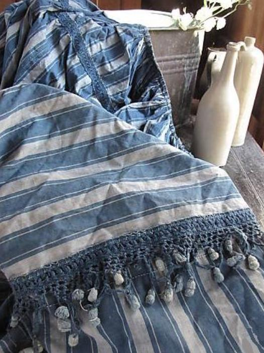 Antique striped drapes for French Ciel de lit