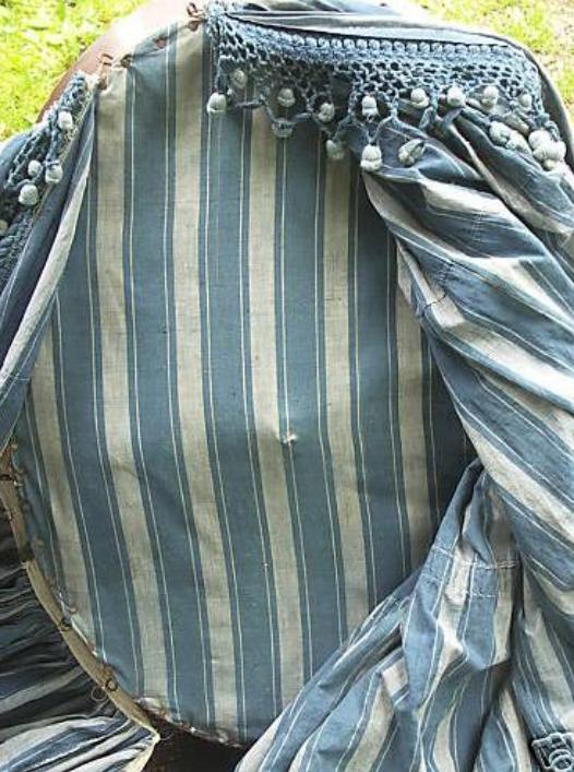 Antique French blue striped bed drapes