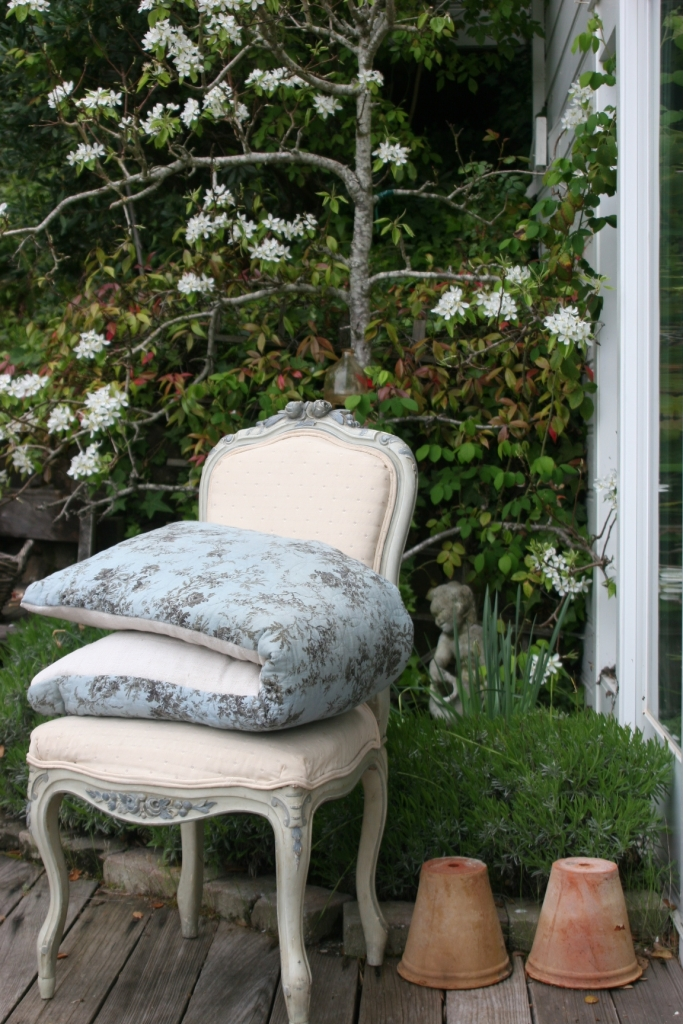 blue painted antique French chair