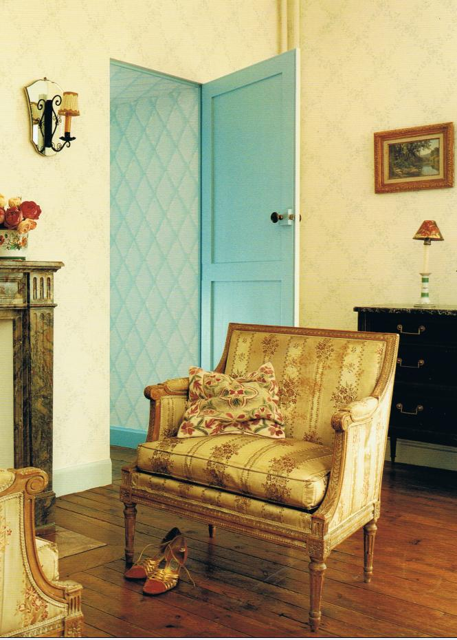 old roses and aqua tones in French Chateau
