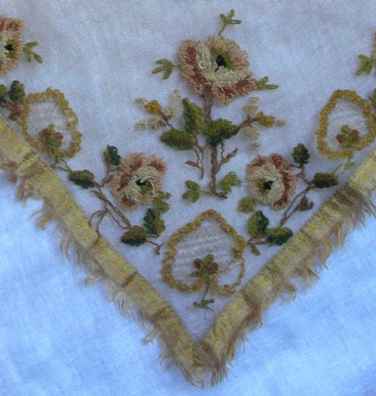 Silk chenille embroidered fichu c. 1810