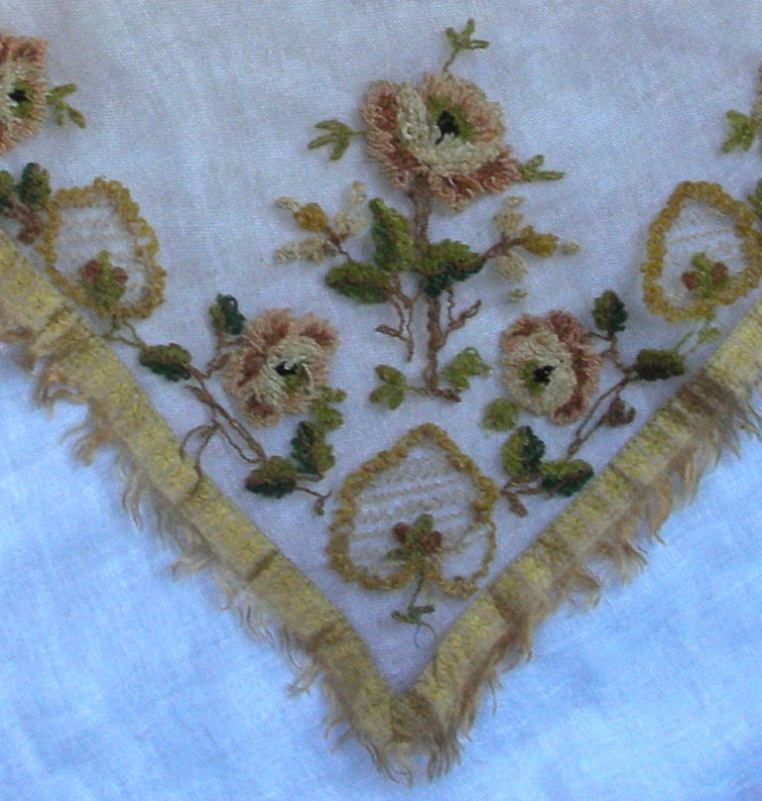 Silk chenille embroidered fichu c. 1810
