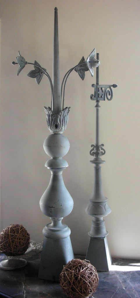 French zinc rooftop finials