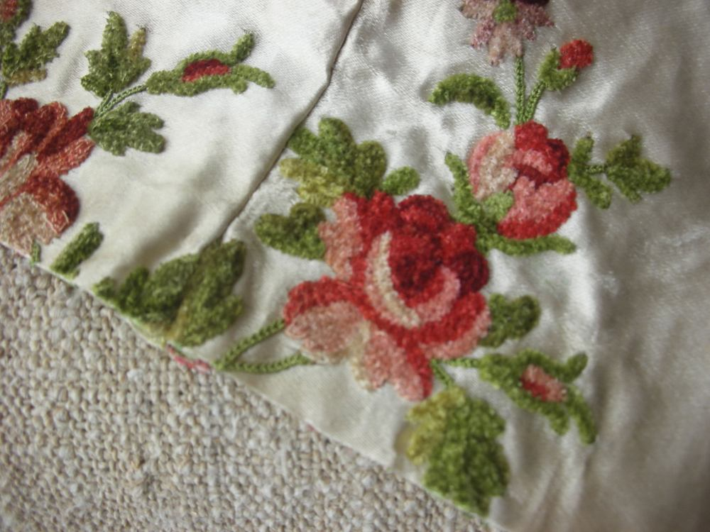 Antique French embroidered silk