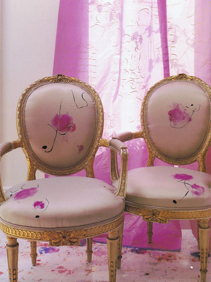 Carolyn Quarternaine script and floral gilt chairs