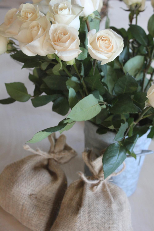 burlap and roses